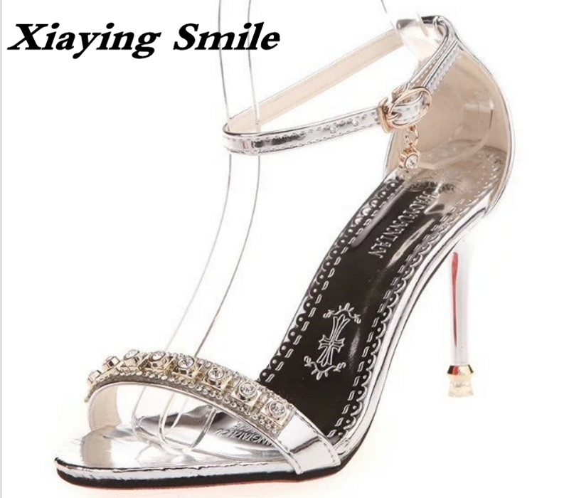 Xiaying Smile Spring Woman Sandals Summer Shoes Women Pumps Fashion Buckle Strap Bling Crytstal Thin Heel Cover Heel Women Shoes xiaying smile new summer woman sandals shoes women pumps platform fashion casual square heel buckle strap open toe women shoes