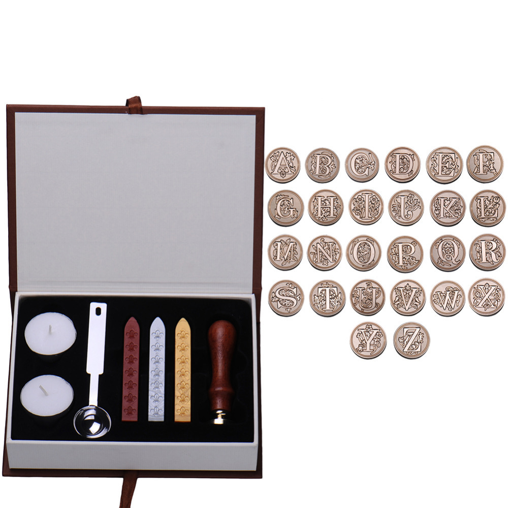 In Durable Box 26 English Alphabets Metal Hot Sealing Wax Clear Stamps Set Dia 25mm Stamps Wax Seals Delicate Cuprum Stamps