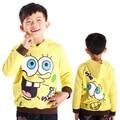 Otoño de Los Niños de los Hoodies de la historieta de Spongebob ropa, jersey boys suéter de algodón terry niños Chaquetas para niños con tapa
