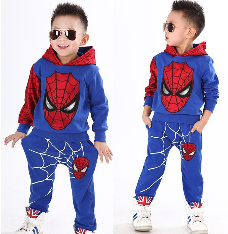 Children's wear children's Spider-Man suit boys play clothing spring and autumn long-sleeved trousers two-piece suit