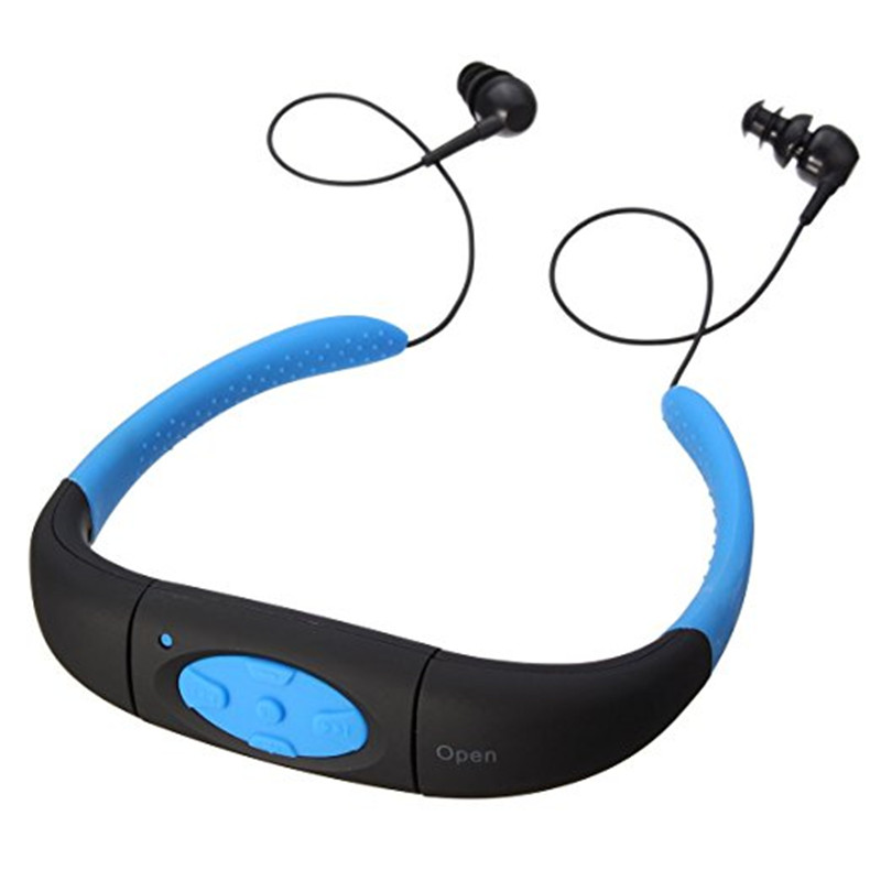 ihens5 IPX8 Waterproof 8GB Underwater Sport MP3 Music Player Neckband Stereo Headphone Audio Headset with FM for Diving Swimming ks 508 mp3 player stereo headset headphones w tf card slot fm black