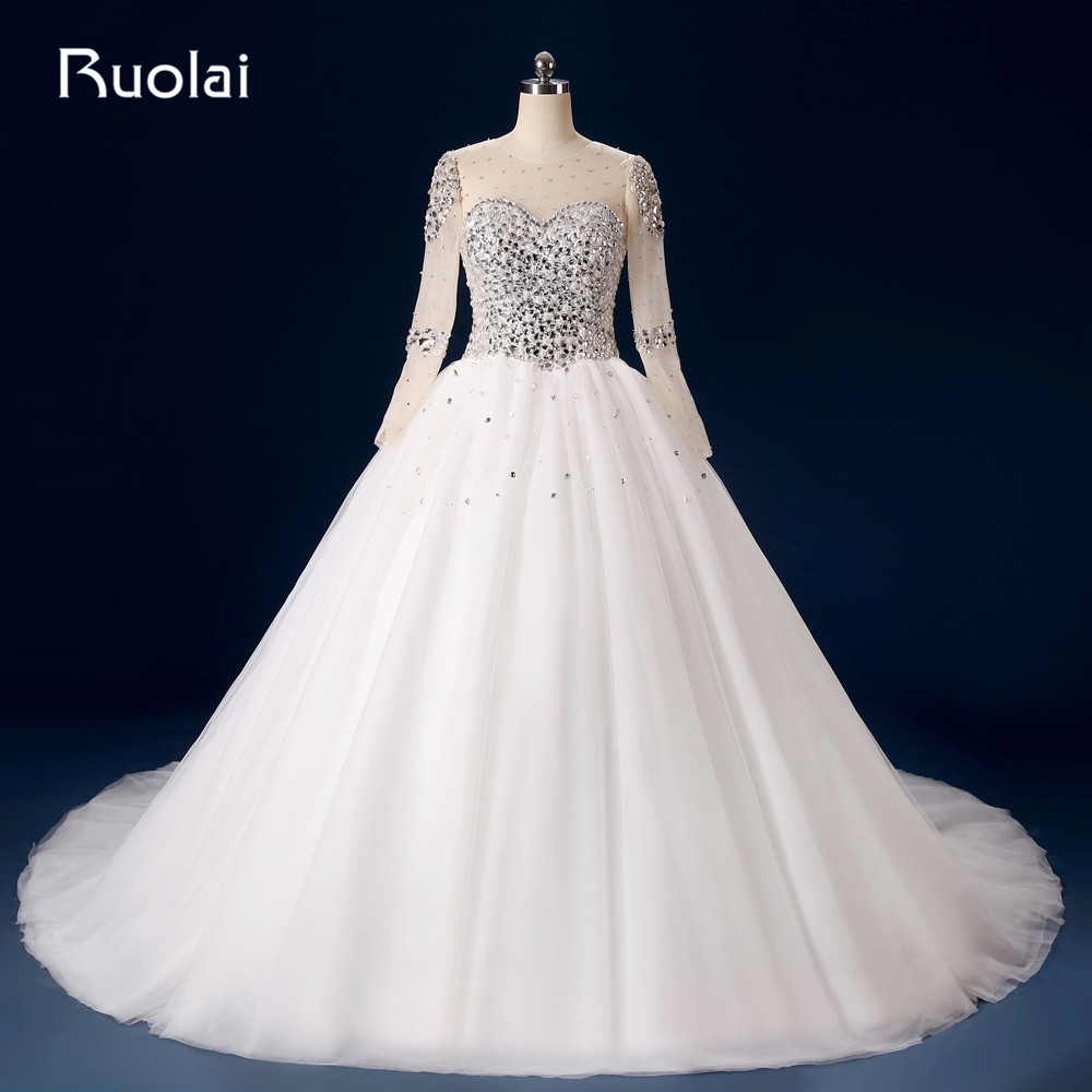 Vroča prodaja Real Photo Dubai Arabic Scoop Tulle z dolgimi rokavi Crystal Beaded Bodice Ball Ball Obleka Poročne obleke FW25