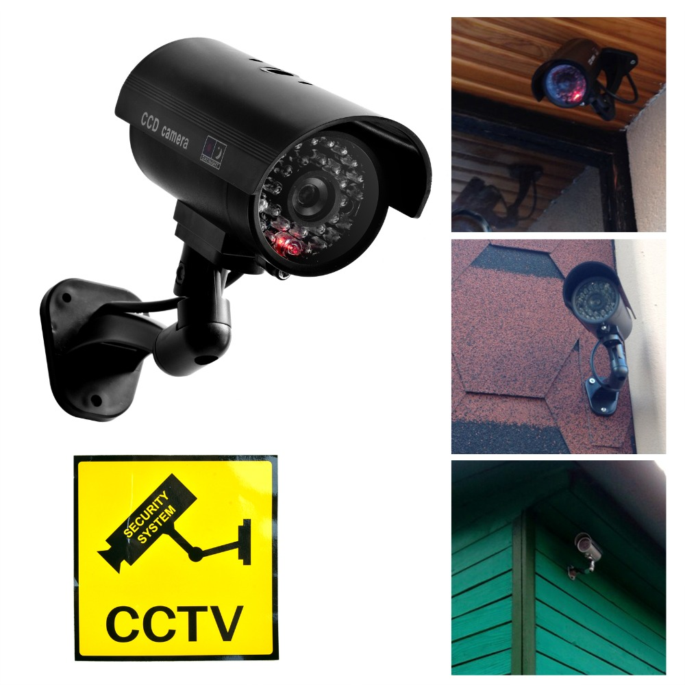 Waterproof Dummy CCTV Camera With Flashing LED For Outdoor Or Indoor Realistic Looking Fack Camera For Security Alarm Sticker