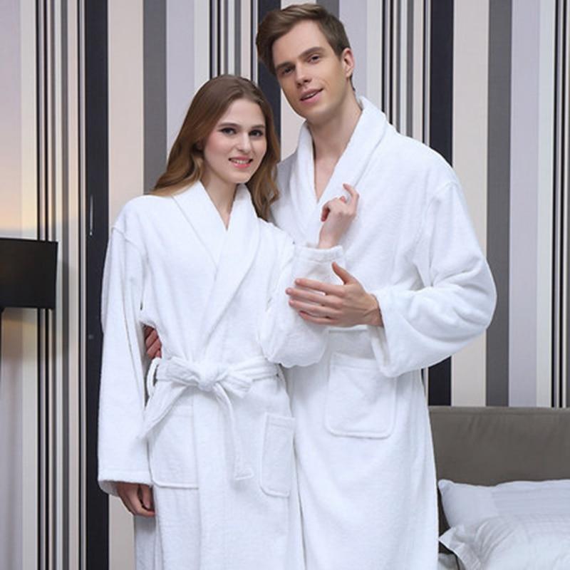Winter Bathrobe Men Thick Warm Towel Fleece Robe Women Male Female Long Bathrobe Man Hotel Home Kimono Robe Sleepwear Autumn