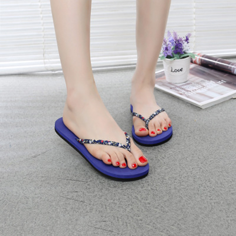 Fashion Women Summer Outdoor Beach Flip Flops Woman Flat Heel Shoes Casual Non-slip Printed Floral Slippers zapatos de mujer футболка top secret top secret to795emscc06