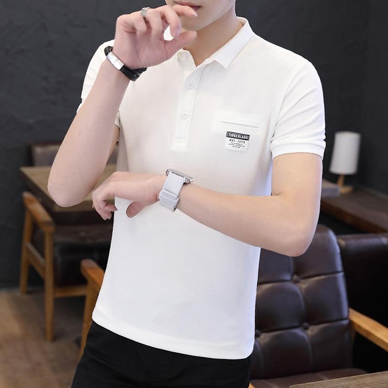Mens Polo Shirt Summer Style Men Business Casual Solid Color Short Sleeve Polo Shirt Slim Cotton Polo Shirt Men Fake Pocket 10