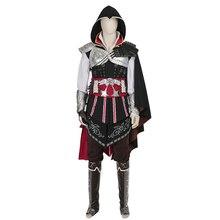 Cosplay Anime Assassins Creed II Ezio Assassins Creed Traje Uniforme Edición Negro disfraces de halloween para las mujeres de los hombres