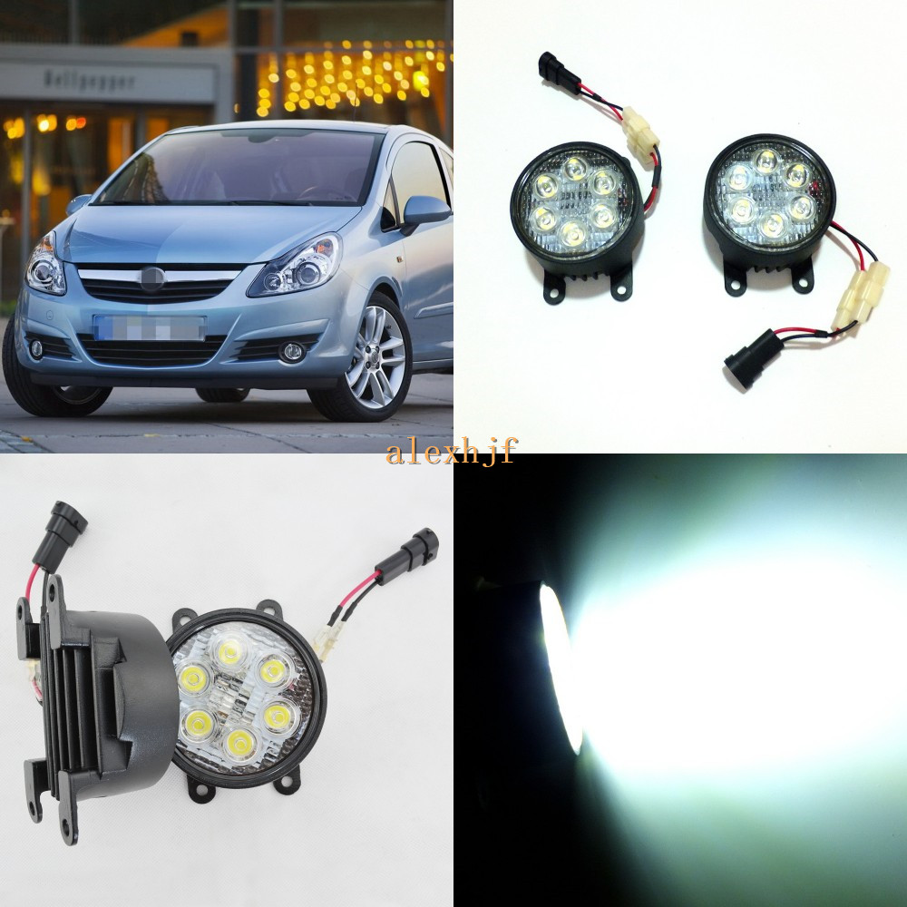 July King 18W 6LEDs H11 LED Fog Lamp Assembly Case for Opel Corsa D 2006-2010, 6500K 1260LM LED Daytime Running Lights for opel astra h gtc 2005 15 h11 wiring harness sockets wire connector switch 2 fog lights drl front bumper 5d lens led lamp