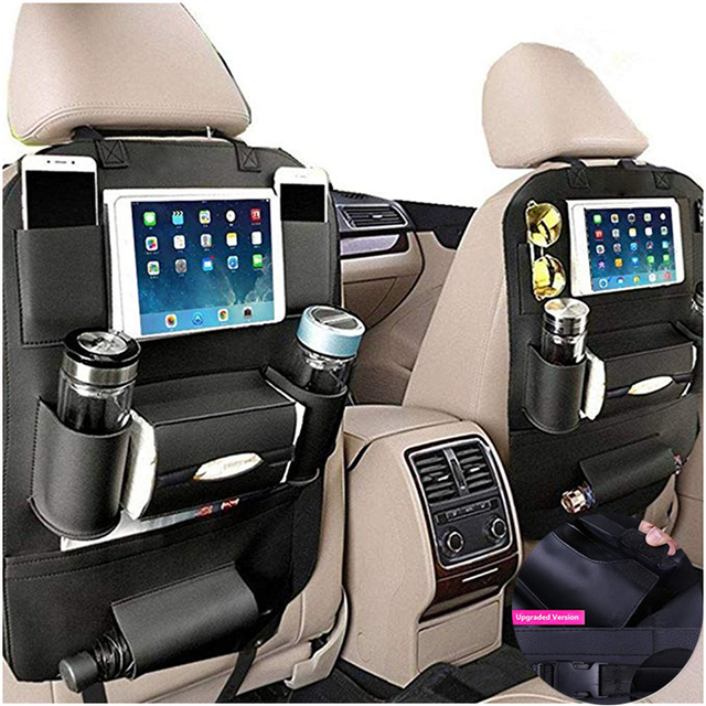 Car Leather Seat Back Organizer and iPad Mini Holder Universal Use as Car Backseat Organizer for Kids Storage Bottles LB004 1