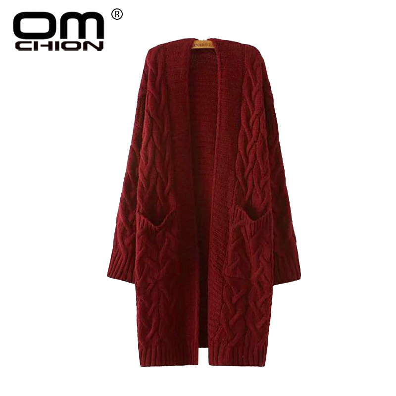OMCHION Winter 2017 Autumn New V Neck Long Cardigan Twist Casual Loose Sweater  Women Oversized Poncho 8362f0cca