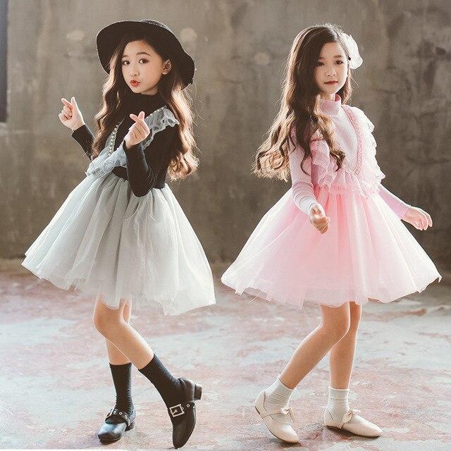 8582058259b78 US $23.0 |Aliexpress.com : Buy Retail 2018 Lace Girls Dress Pink Black  Princess Clothes Children Clothing Wedding Costume Kids Dresses For Big  Girls ...