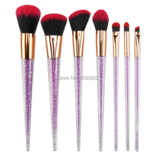 все цены на New 7 pcs makeup brushes purple color crystal handle powder blush foundation eye shadow eyebrow cosmetic brush make up brushes онлайн
