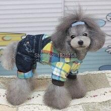 2016 Fashion Pet Dog cowboy Rompers clothes Stripe soft cotton shirt Puppy dog Jumpsuit Hoodie Apparel four legs