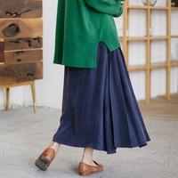 Осенне зимняя двойная складка складки медная Аммиачная шелковая юбка из хлопка и льна Повседневная Свободная эластичная талия короткая ви
