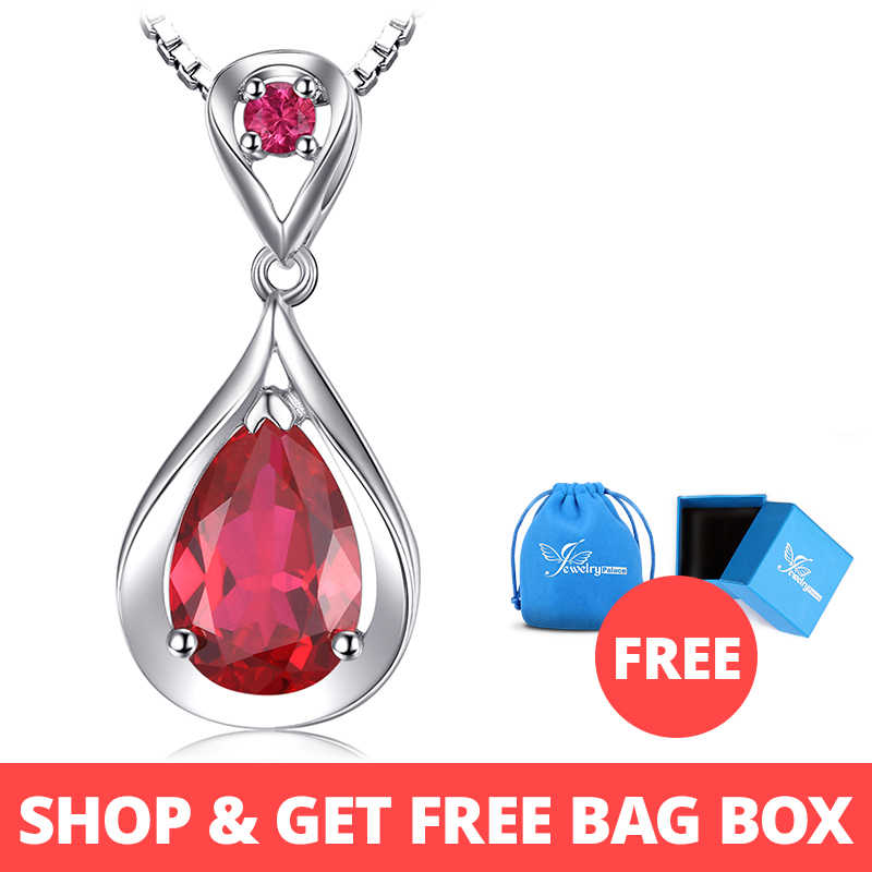 1835f44d7c412 JewelryPalace Water Drop 4ct Created Red Ruby Pendant Anniversary 925  Sterling Silver For Women Fine Jewelry Without A Chain