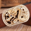 big buckle dragon ostrich style cowhide genuine leather mens belts luxury designer high quality 2017 blue gold rhinestone brown
