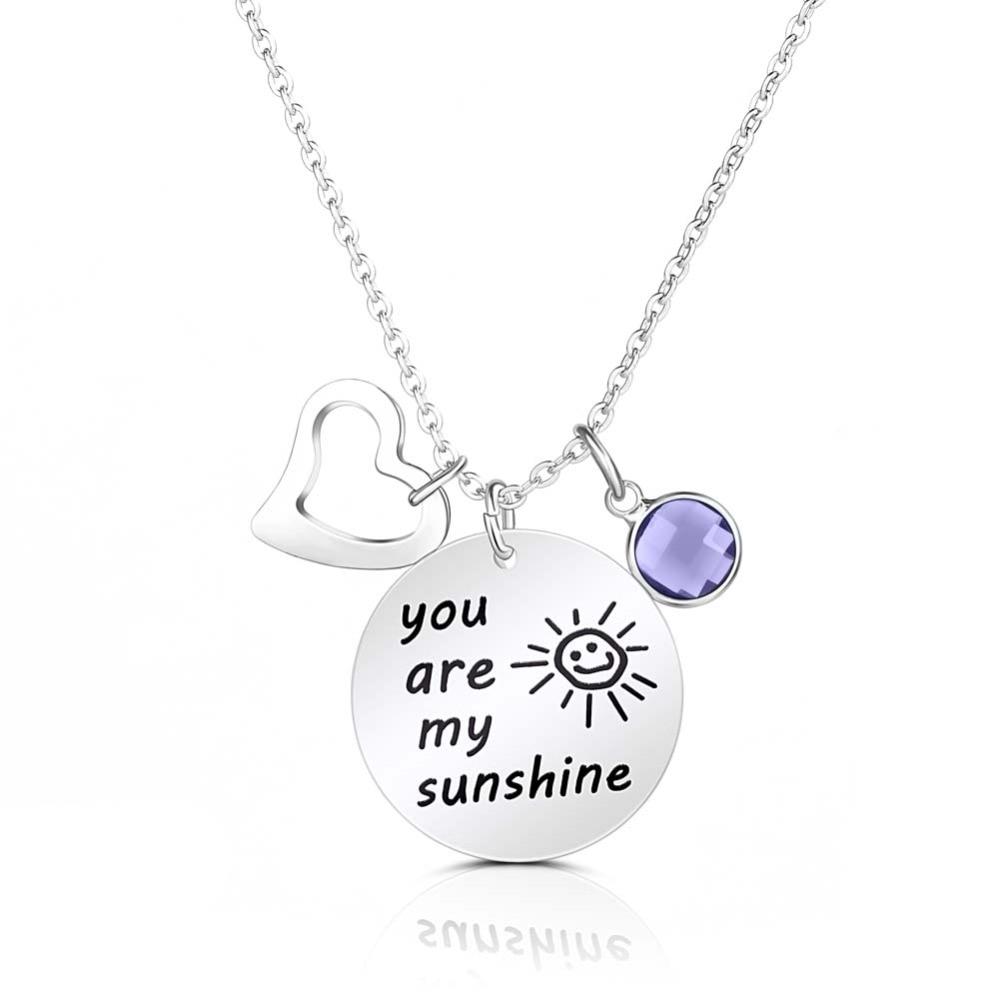 65726044b1ef De alta calidad de grabado letras collar son mi sol piedra colgantes ...