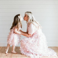 Mother daughter matching clothes baby floral star pattern dress Mom skirt little girls clothing