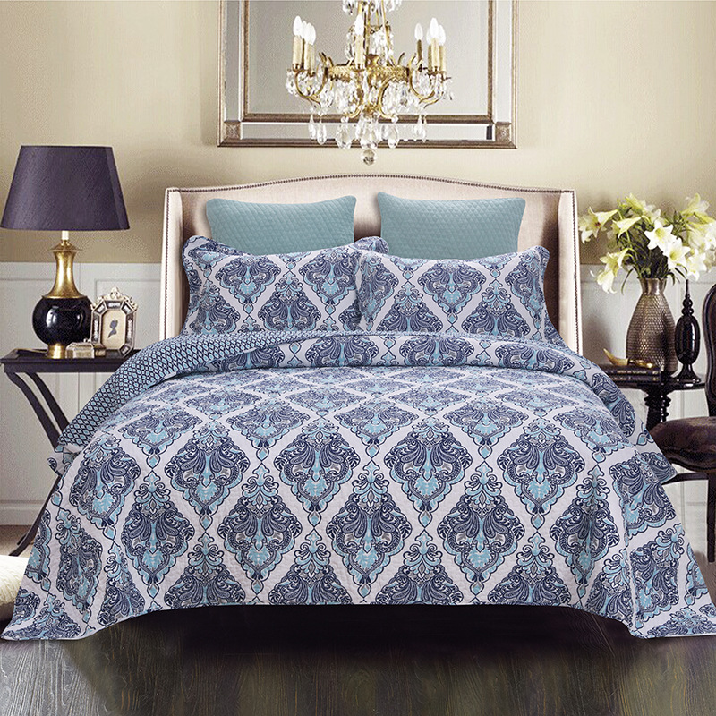 CHAUSUB Printed Bedspread Quilt Set 3PCS AB-side Washed Cotton Coverlet Quilted Bed Cover Pillowcase King Queen Size QuiltsCHAUSUB Printed Bedspread Quilt Set 3PCS AB-side Washed Cotton Coverlet Quilted Bed Cover Pillowcase King Queen Size Quilts
