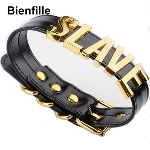 Image 4 - Fashion Gold Men Necklace Women Girl  Slave Name Word  Collar Buckle Necklace Black PU Leather Kawaii Jewelry