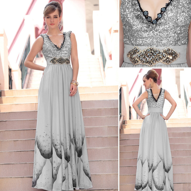 2015 new arrival cheap sexy floor length fashion printing V neck sequins beading sleeveless elegant gray long evening dress30617