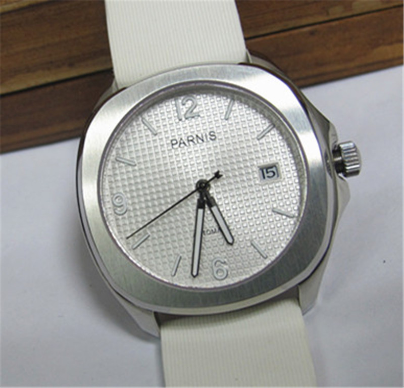 39mm Casual Watch Men Parnis White Dial Stainless Steel Case Automatic Watches White Wristwatch