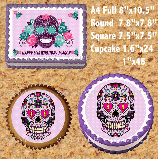 Sugar Skull Day Of The Dead Edible Cake Topper Wafer Rice Paper For