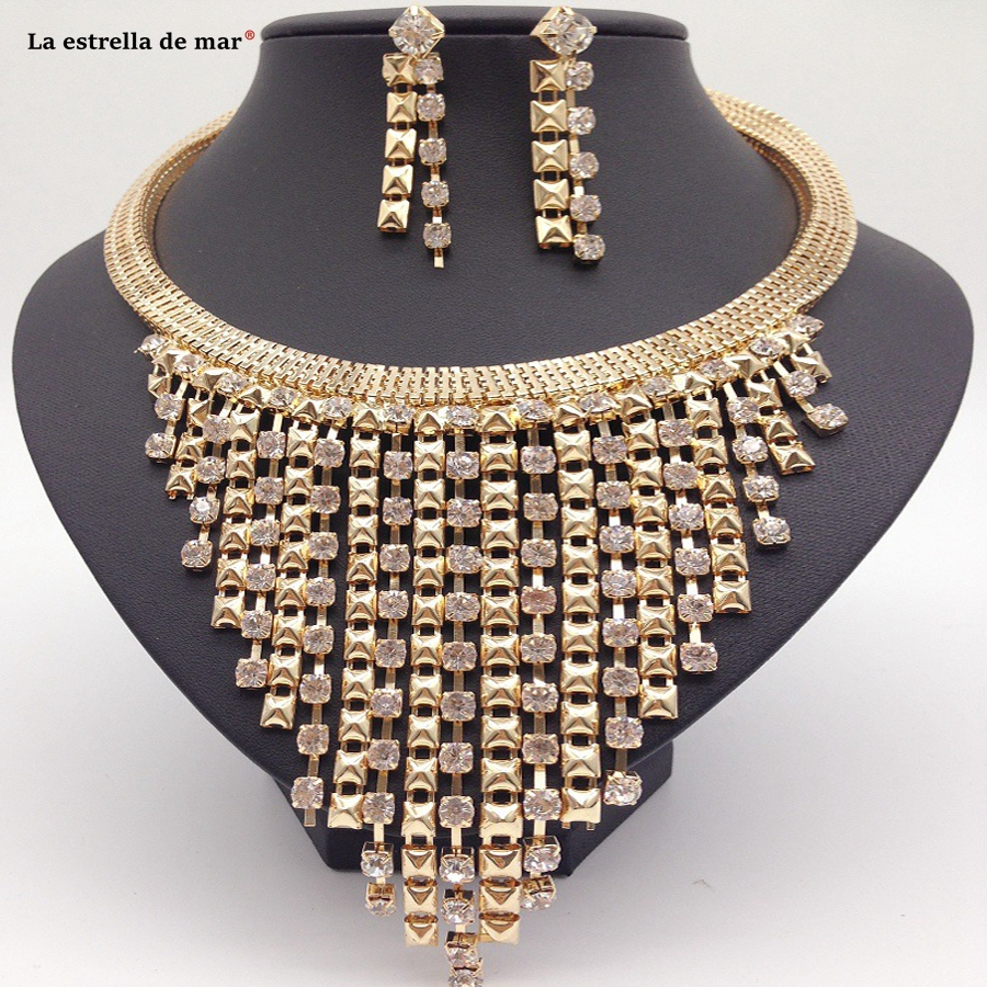 Dubai gold jewelry sets for women2018 new gold tassel clavicle chain necklace earrings set cheap ethiopian jewelry