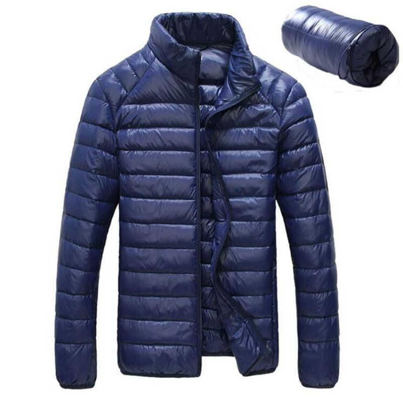 2019 зимняя белая куртка на утином пуху Мужская Ультралегкая Парка мужская Весенняя Повседневная водонепроницаемая куртка Пальто Верхняя одежда плюс размер 5XL