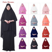 2 Piece Set Women Ramadan Islamic Clothing Muslim Hijab Top And Dress Suits Bangladesh Kaftan Dubai Turkey Turkish Black Abaya(China)