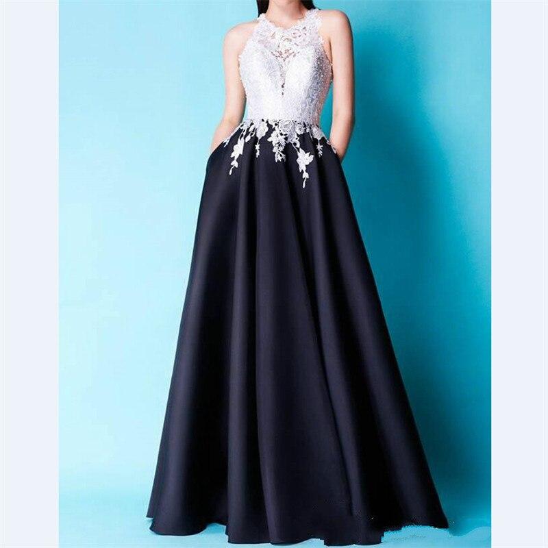 7572d8302d Vestidos de Fiesta 2017 Fashionale Blanco Satinado Vestido De Noche de  Encaje Negro con Bolsillo Formal Del Vestido Del Partido Por Encargo Hecho  Trabajo ...