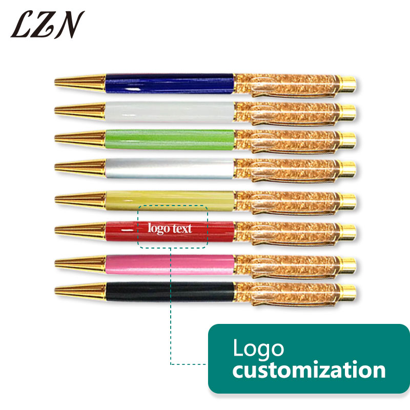 LZN Creative Luxury Ballpoint flow oil crystal Gold foil Metal Copper colorful high grade gold pens