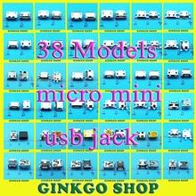 цена на 38Models, 76pcs/lot Micro Mini USB 5P 5-pin Jack Connector Tail Charging Socket Female Mix DIP SMD Type Free Shipping