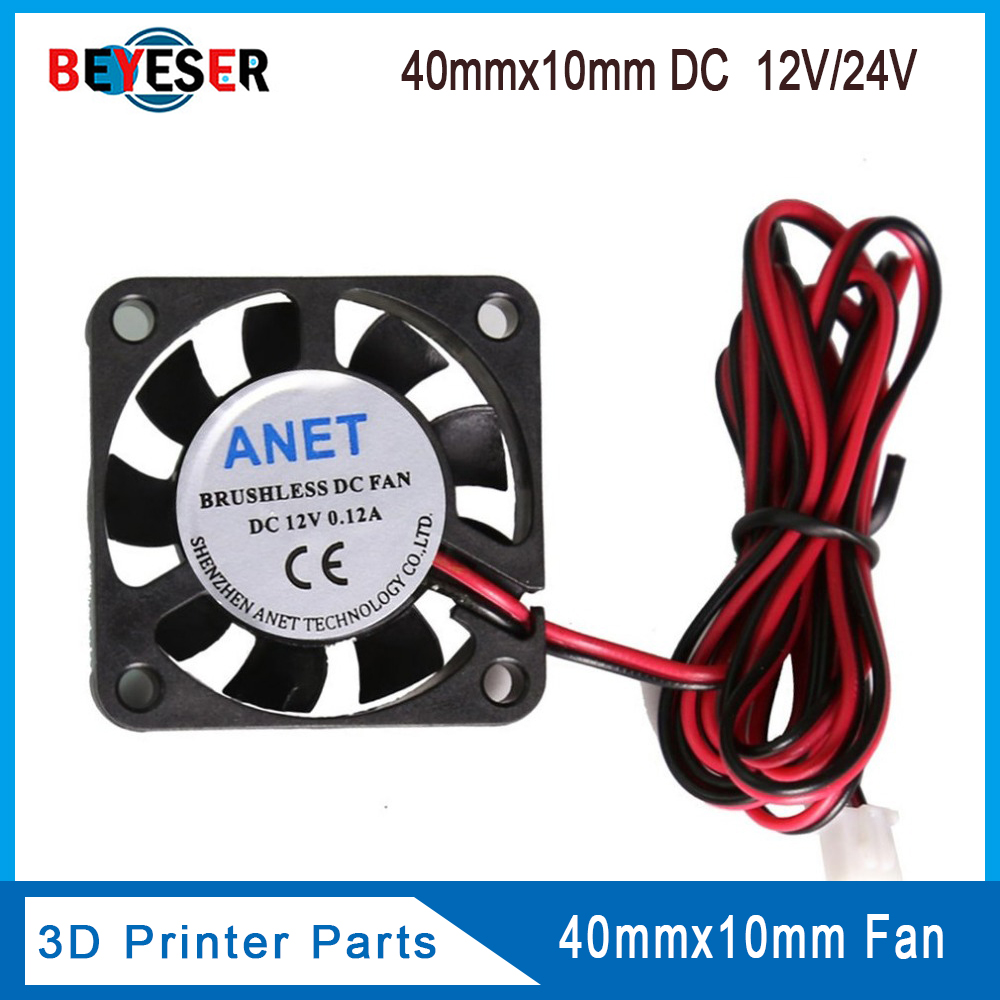 4010 Cooling Fan 12V 24V 2 Pin With Dupont Wire Brushless 40*40*10 Cool Fans Part Quiet DC 40m Cooler Radiato 3D Printers Parts