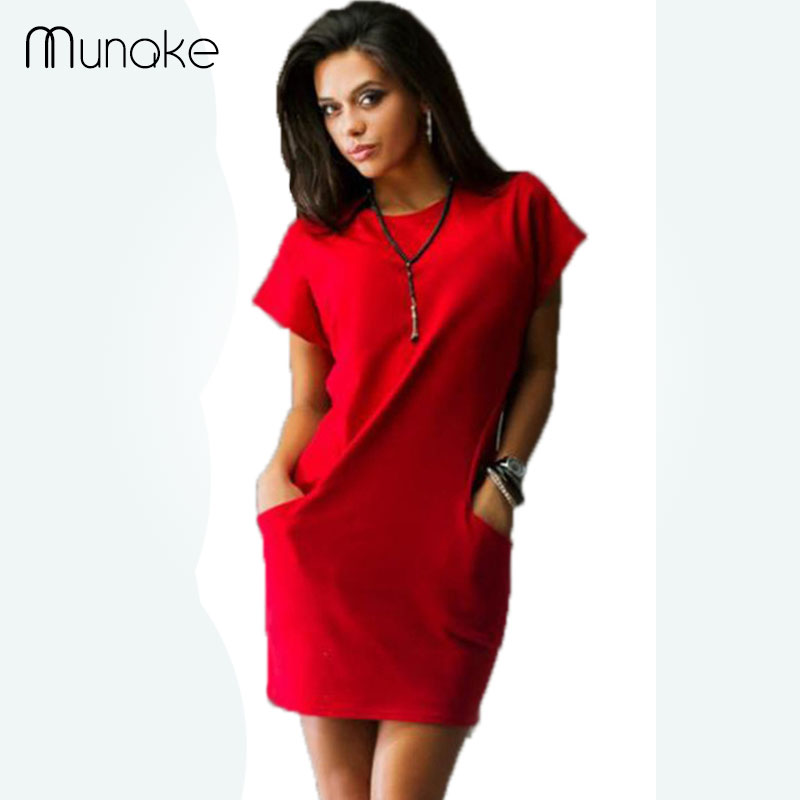 Munake moda mujeres casual bodycon dress rojo sólido de manga corta del o-cuello