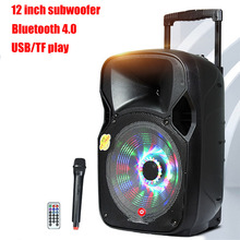 12 Inch 100W High Power Outdoor Speakers Wireless Bluetooth 4.0 USB TF Play Remote Control Rechargeable With One Wireless MIC