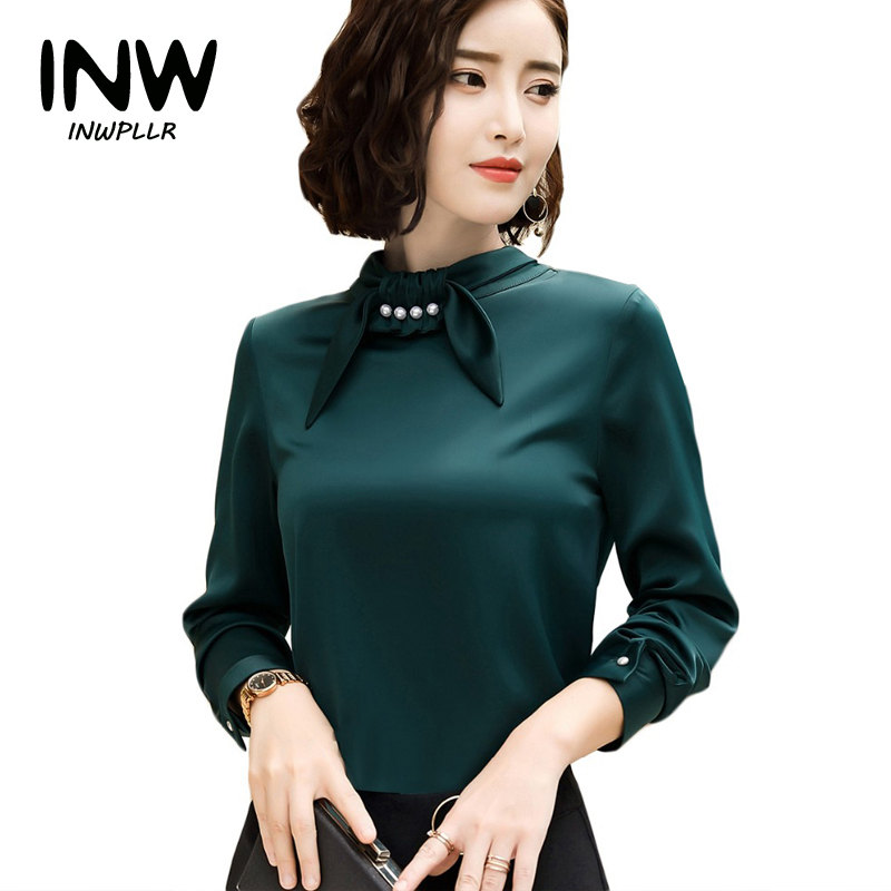 a655d2f1e7ab29 2019 New Autumn Silk Blouse Shirt Women Fashion Full Sleeve Office Tops  Lady Formal Soft Shirts