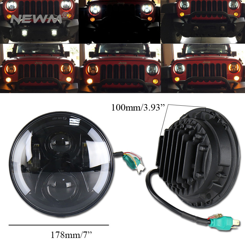 7 Inch Round Led Headlights DRL & Hi/Lo Beam & Amber Turn Light for Jeep Wrangler JK TJ LJ CJ Rubicon Sahara Unlimited Hummer marloo dot 7 inch 120w 9000 lumens hi lo beam led headlights with side halo ring drl turn signal for jeep wrangler jk tj lj
