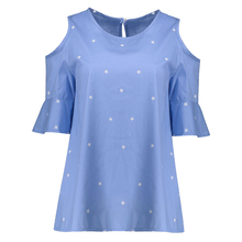 New Fashion Womens Strapless Stars Loose Thin Short Sleeve T-Shirts Women Off Shoulder Tee Tops Summer  Top