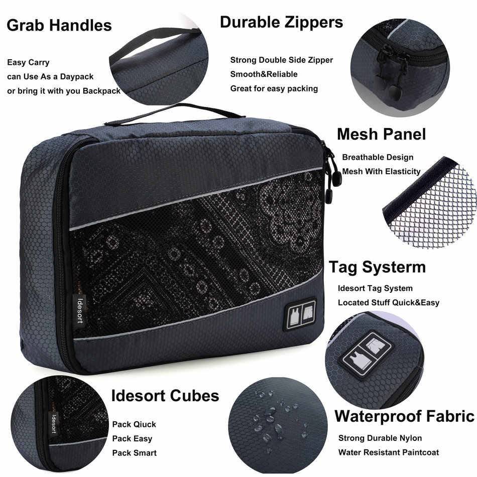 Soperwillton упаковочные кубики сетка упаковочные органайзеры дышащий нейлон дорожная сумка для мужчин и женщин дорожный органайзер для багажа набор