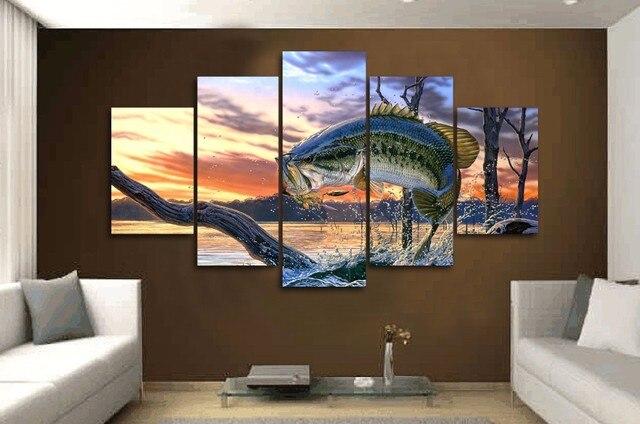 5 Teile/los Karpfen Springen Malerei Print Leinwand Wandkunst Bild Für Sofa  Hintergrund Dekoration Für