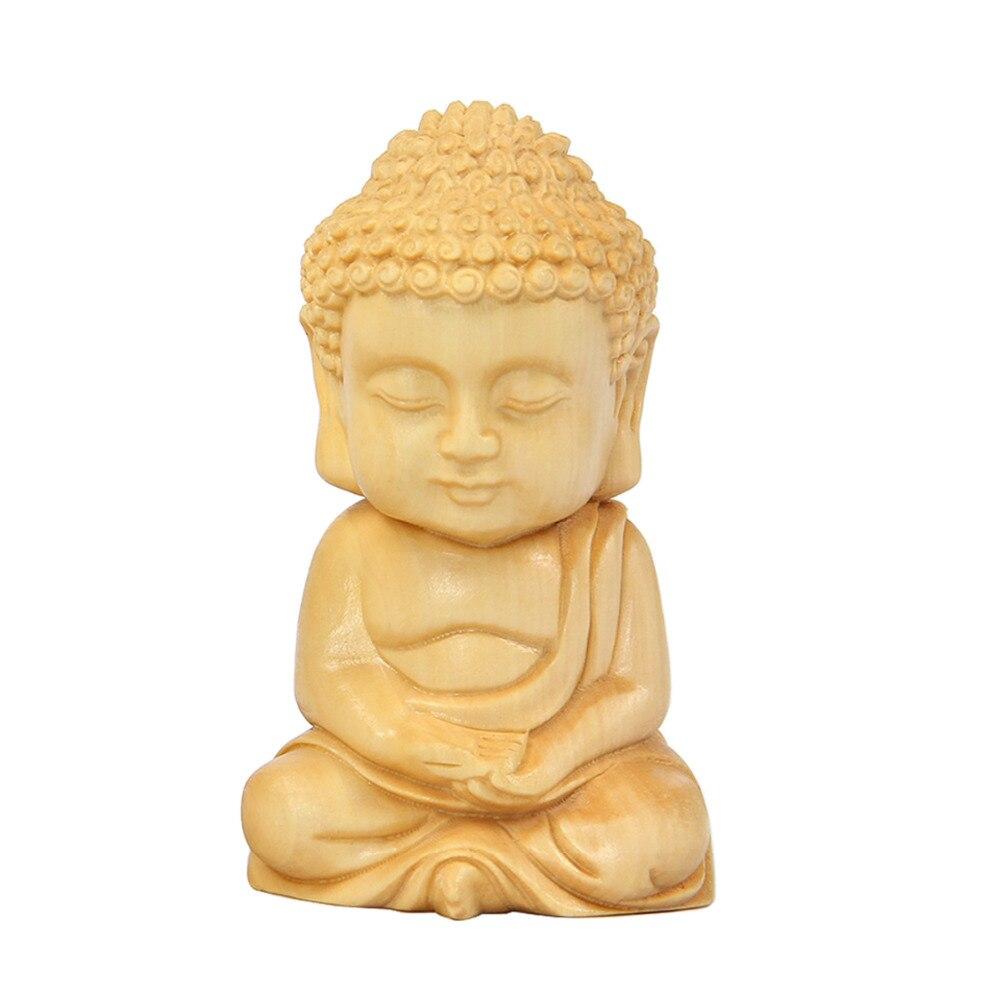 Wood Carving & Buddha Beads Chinese Buddhism Shakyamuni Statue Sculpture Amulet Car Pendant Netsuke
