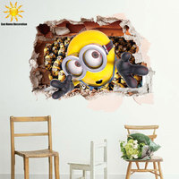 3D Pegatinas De Pared Infantiles Despicable Me 2 Minions Baby Wall Stickers For Kids Rooms Cartoon