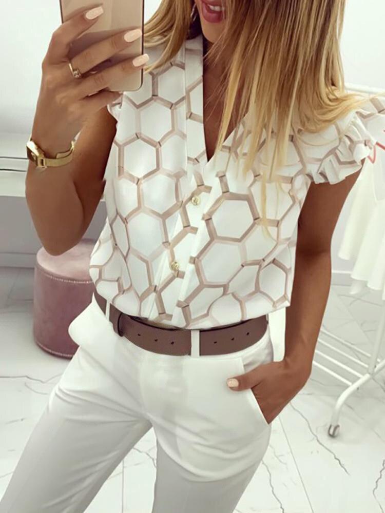 2019 Summer Women Elegant Work Wear OL Leisure Blouse Female Stylish Fashion Top V-Neck Print Ruffles Casual Shirt