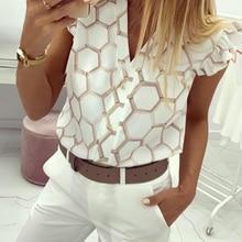 2019 Summer Women Elegant Work Wear OL Leisure Blouse Female