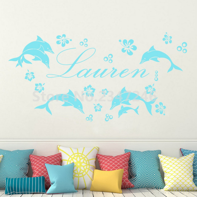 Image of: Worksheets Customized Name Ocean Animals Mural Stickers Dolphins Flowers Bubbles Vinyl Wall Decals For Kids Room Bathroom Vectorstock Customized Name Ocean Animals Mural Stickers Dolphins Flowers