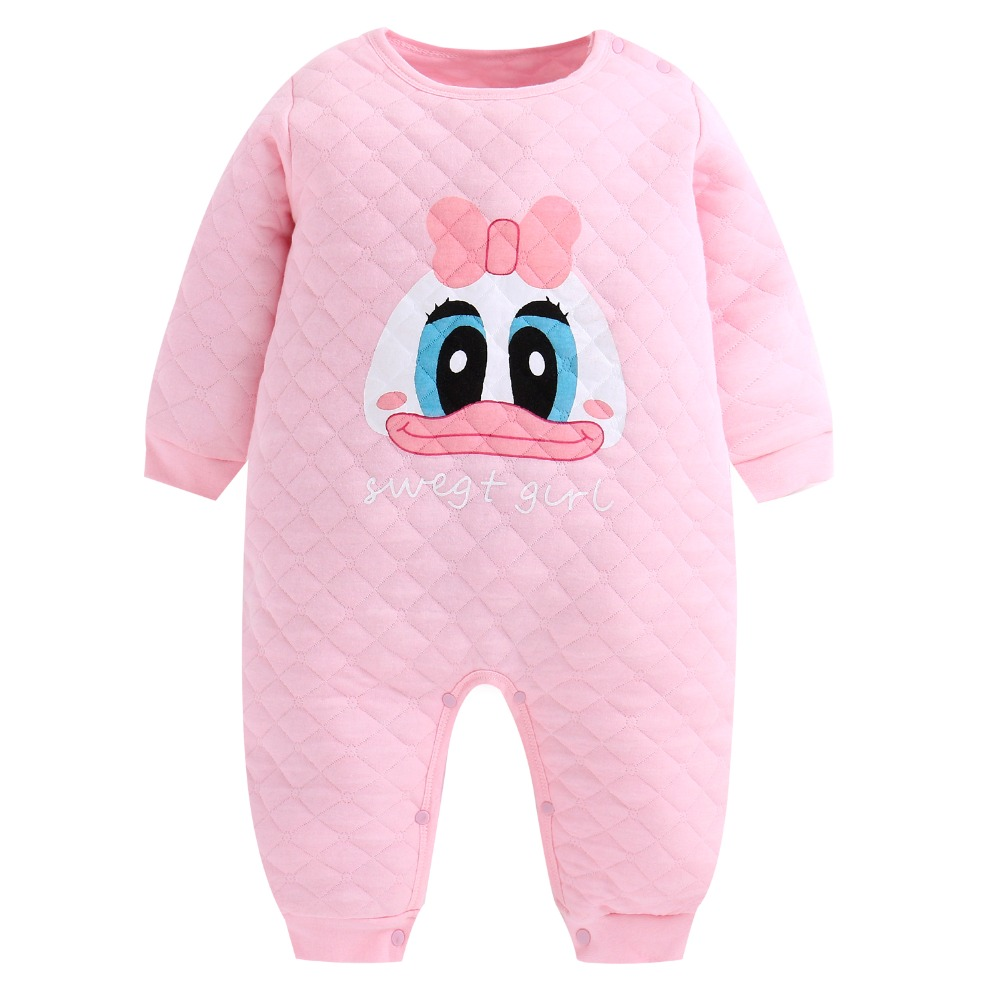 Winter Baby Girl Romper Winter Warm Quilted Long Sleeve Jumpsuit Toddlers Newborn Baby Boy Cute One Piece Clothes 0-24 Months