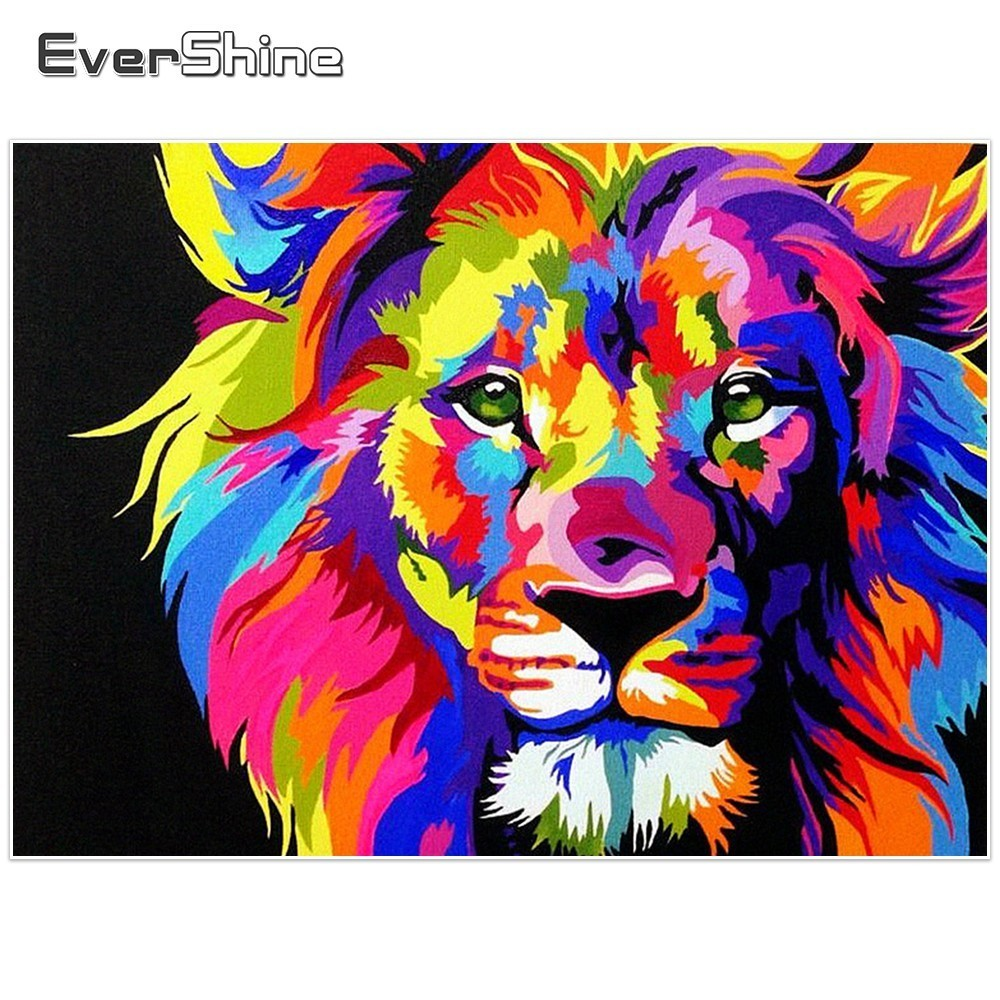Evershine Diamond Broderi Lion Salg Full Square Diamond Maleri Dyr Bilder Rhinestones Diamond Mosaic Home Decoration