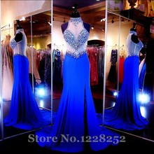 Sexy Royal Blue Mermaid Abendkleider High Neck Perlen Pailletten Bodenlangen Illusion Zurück Lange Abendkleid Split Side Mode