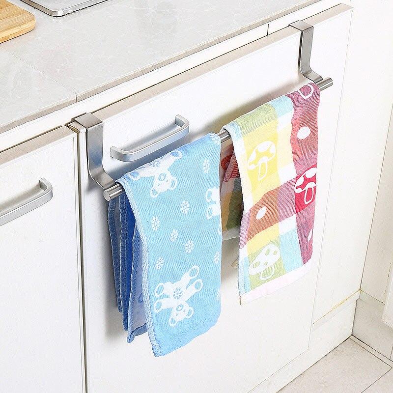 Stainless Steel Towel Bar Holder Kitchen Cabinet Cupboard Door Hanging Rack Storage Hook Accessories @LS